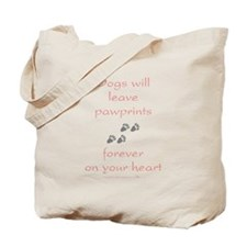 Dog Pawprints On The Heart Tote Bag