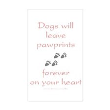 Dog Pawprints On The Heart Rectangle Decal