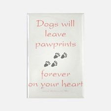 Dog Pawprints On The Heart Rectangle Magnet