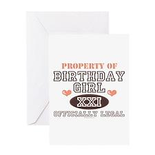 Property of 21st Birthday Girl Greeting Card