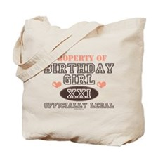 Property of 21st Birthday Girl Tote Bag