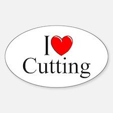 """I Love Cutting"" Oval Decal"