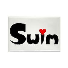 Swim Heart Rectangle Magnet