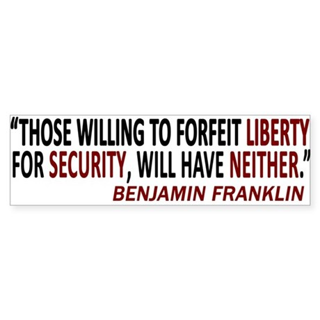 SECURITY LIBERTY Bumper Sticker