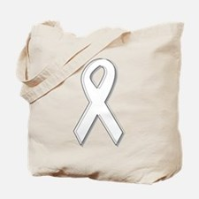 White Awareness Ribbon Tote Bag