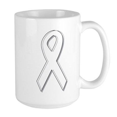 White Awareness Ribbon Large Mug