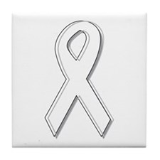 White Awareness Ribbon Tile Coaster