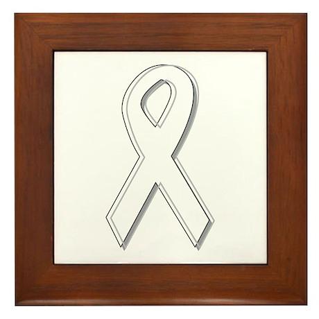 White Awareness Ribbon Framed Tile