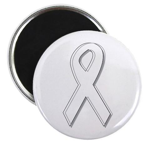 """White Awareness Ribbon 2.25"""" Magnet (100 pack)"""