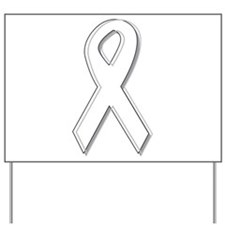White Awareness Ribbon Yard Sign