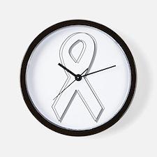 White Awareness Ribbon Wall Clock