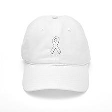 White Awareness Ribbon Baseball Cap