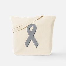Gray Silver Awareness Ribbon Tote Bag