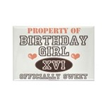 Property Of 16th Birthday Girl Rectangle Magnet