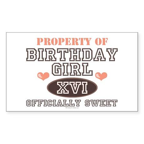 Property Of 16th Birthday Girl Sticker (Rectangula
