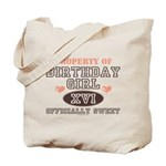 Property Of 16th Birthday Girl Tote Bag