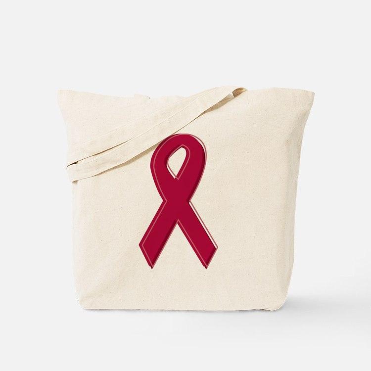 Burgundy Awareness Ribbon Tote Bag
