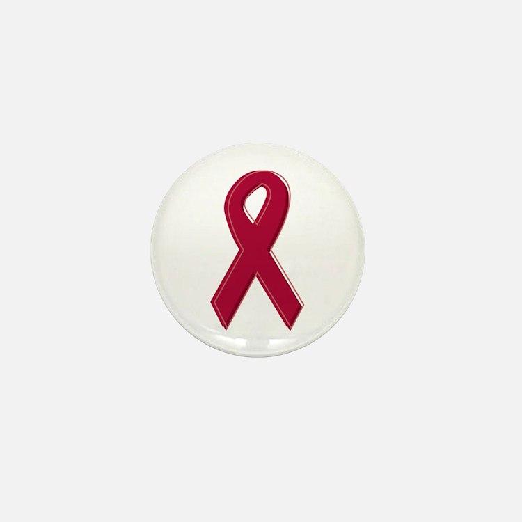 Burgundy Awareness Ribbon Mini Button