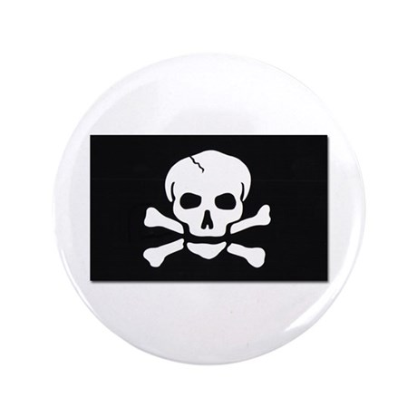 """Jolly Roger Pirate Flag 3.5"""" Button"""