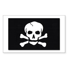 Jolly Roger Pirate Flag Rectangle Decal