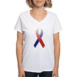 Red, White & Blue Ribbon Women's V-Neck T-Shirt