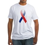 Red, White & Blue Ribbon Fitted T-Shirt