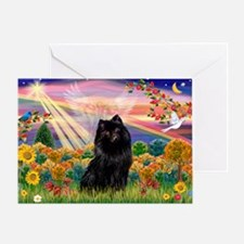 Autumn Angel and Schipperke. Greeting Card
