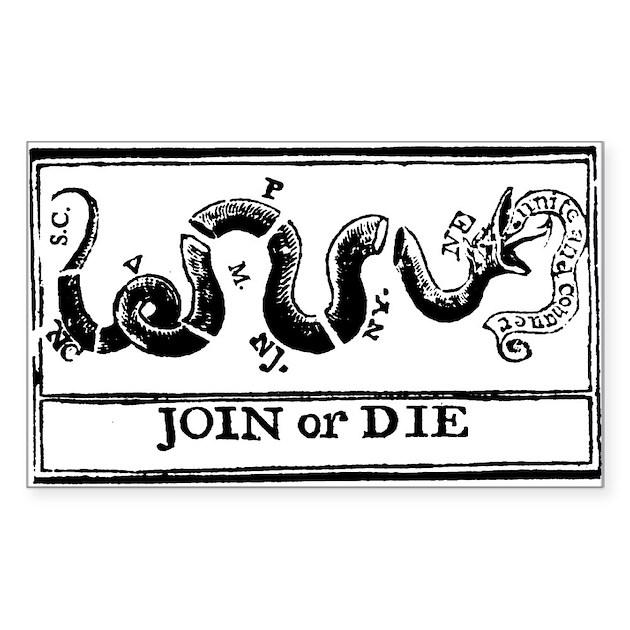 Join Or Die Flag Sticker By Noveltygear
