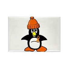 Winter Penguin 1 (Orange) Rectangle Magnet