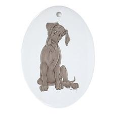 NBlu Pup Tilt Oval Ornament