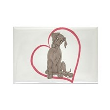 NBlu Pup Heartline Rectangle Magnet