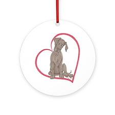 NBlu Pup Heartline Ornament (Round)