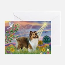 Cloud Angel & Sheltie Greeting Card