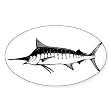 Blue Marlin Oval Decal