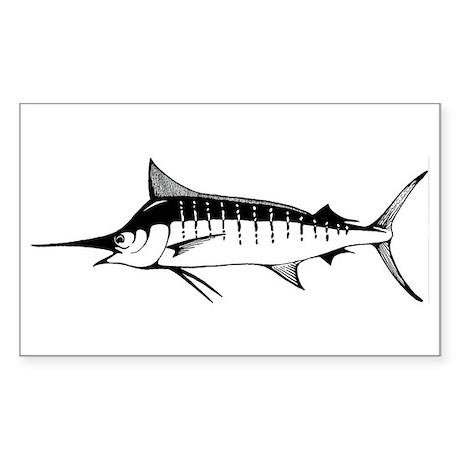 Blue Marlin Rectangle Sticker