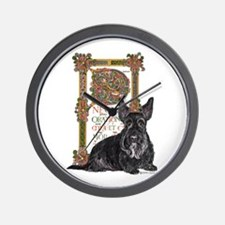 Celtic Dog Scottish Terrier Wall Clock