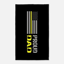 U.S. Flag Yellow Line: Proud Dad (Black) Area Rug