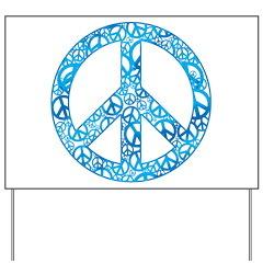 Blue Peace Symbols Yard Sign