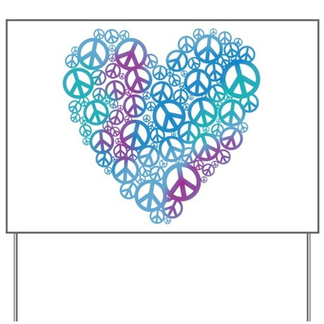 Peace Symbols Heart Yard Sign