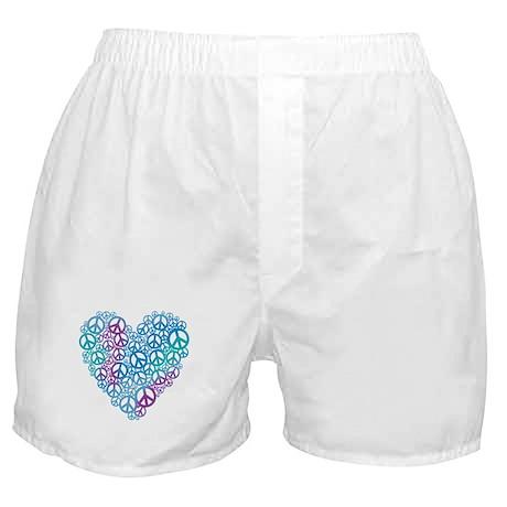 Peace Symbols Heart Boxer Shorts