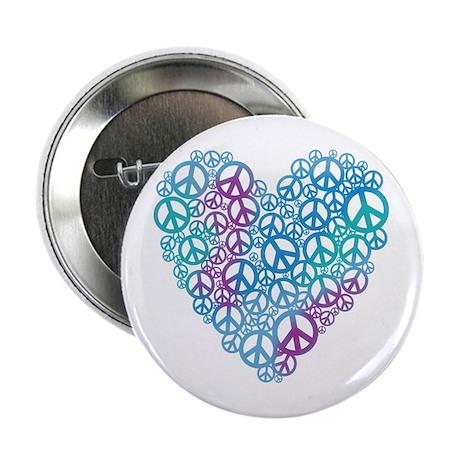 "Peace Symbols Heart 2.25"" Button"