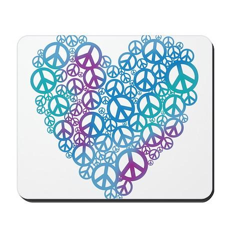 Peace Symbols Heart Mousepad