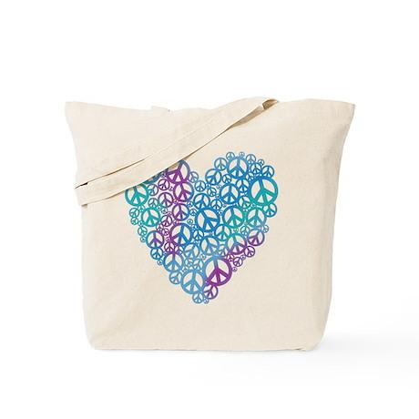 Peace Symbols Heart Tote Bag