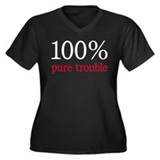 100% PURE TROUBLE Women's Plus Size V-Neck Dark T-