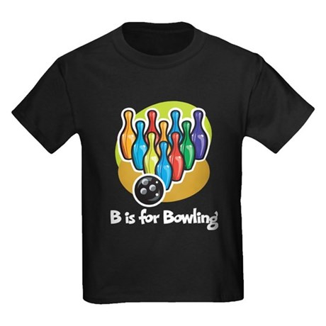 B is for Bowling Kids Dark T-Shirt