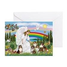 Angel & Five Shelties Greeting Cards (Pk of 10)