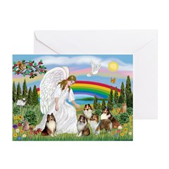 Angel & Five Shelties Greeting Cards (Pk of 20)