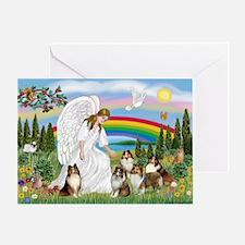 Angel & Five Shelties Greeting Card