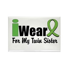 Lime Twin Sister Rectangle Magnet