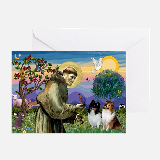 Saint Francis Sheltie Pair Greeting Card